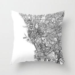 Manila Map White Throw Pillow