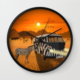 Africa Safari and stripes meeting Wall Clock