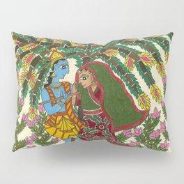 Radha Krishna Madhubani Pillow Sham