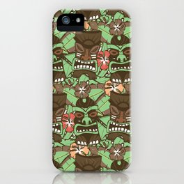 Tiki Tropics - Brown and Green iPhone Case