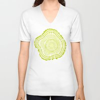 lime V-neck T-shirts featuring Lime Tree Rings by Cat Coquillette