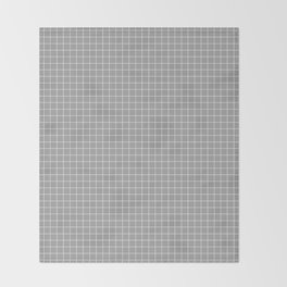 Grey Grid White Line Throw Blanket