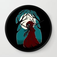 red hood Wall Clocks featuring Red Riding Hood 2 by Freeminds