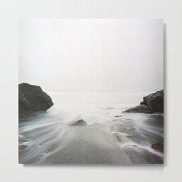 Long Exposure Waves (Black and White) Metal Print