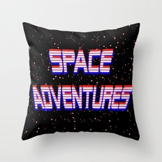 Space Adventures Arcade banner Throw Pillow