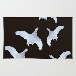 White Willow grouse Birds On A Black Background #decor #buyart #society6 Rug