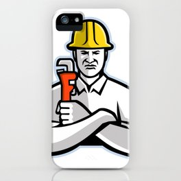 Pipefitter Holding Pipe Wrench Mascot iPhone Case