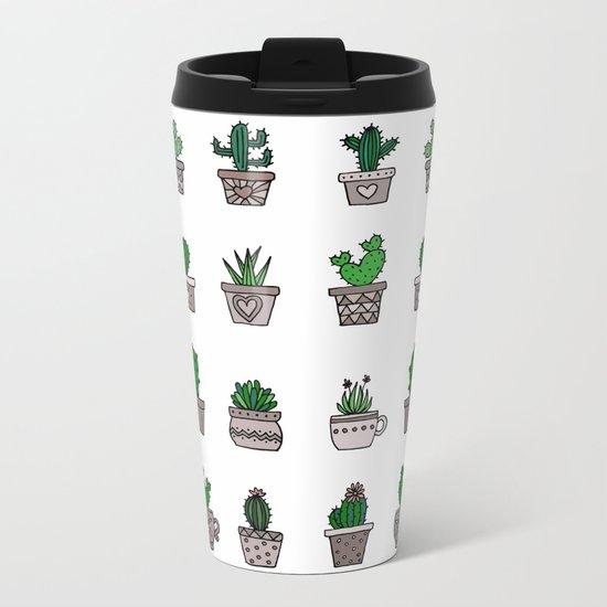 Cactus Pattern 2 Metal Travel Mug