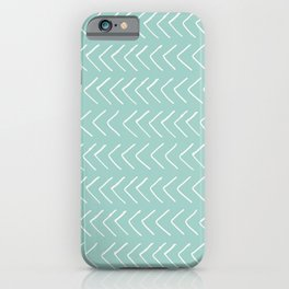 Hand painted pastel green white geometrical chevron iPhone Case