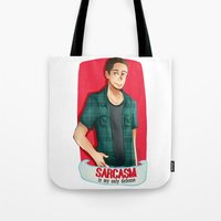 sarcasm Tote Bags featuring Sarcasm by IanShan