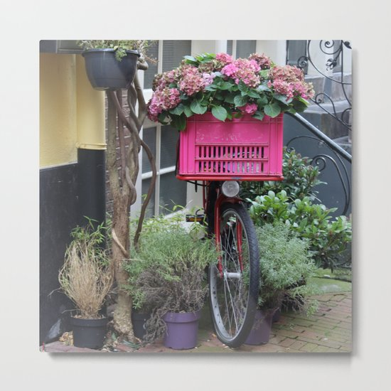 Pink Floral Bicycle in Amsterdam Metal Print