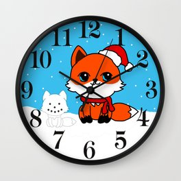 A Fox in the Snow Wall Clock