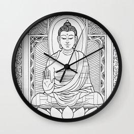 Buddha Black & White Wall Clock