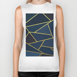 The Color of Navy And Gold Biker Tank