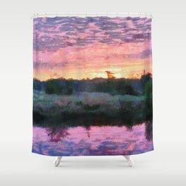 Monet Inspired Sunrise Shower Curtain
