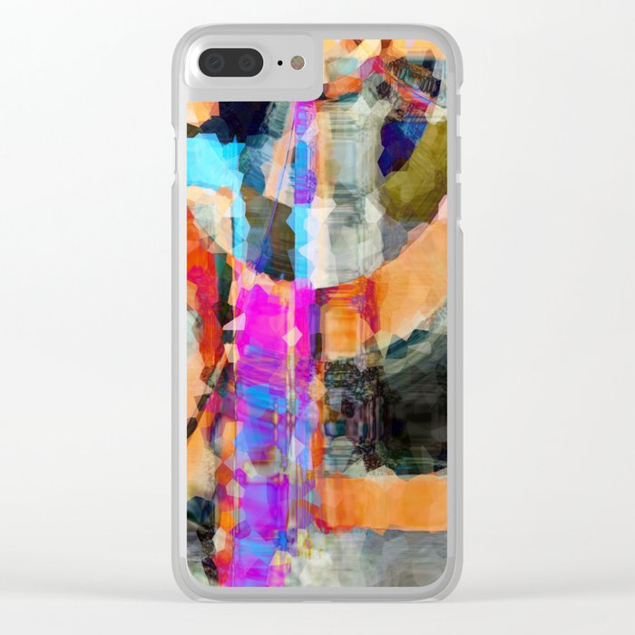 Artful Spirit Mosaic Colorful Geometric Abstract Clear iPhone Case