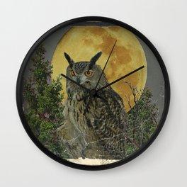 SHABBY CHIC ANTIQUE NIGHT OWL  FULL MOON Wall Clock