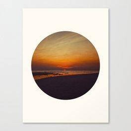 Mid Century Modern Round Circle Photo Graphic Design Orange Sunset Above Beach Canvas Print