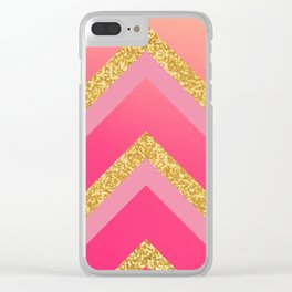 Pink, Rosé, Coral, Gold Triangles - Ombré Watercolor Clear iPhone Case