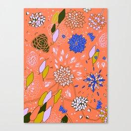 Orange Flower Pattern Canvas Print