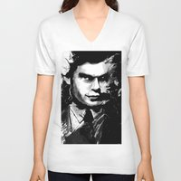 dexter V-neck T-shirts featuring Dexter by RebeccaWeaver