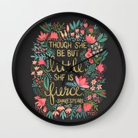 sassy Wall Clocks featuring Little & Fierce on Charcoal by Cat Coquillette