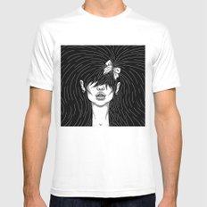 Girl With a Ribbon  MEDIUM Mens Fitted Tee White