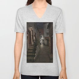 Alleyway in Whitby, home of Dracular!! Unisex V-Neck
