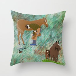 Horse Farrier Throw Pillow