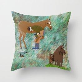 Horse Farrier Throw Pillow
