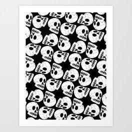 Black and White Human Skull Pattern Art Print