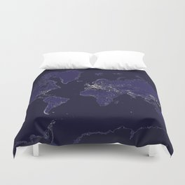 The world map at night with outlined countries Duvet Cover