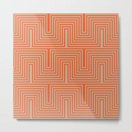 Doors & corners op art pattern in orange and beige Metal Print