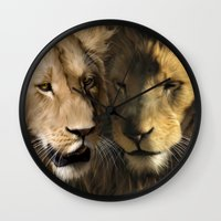 lions Wall Clocks featuring Lions by Julie Hoddinott