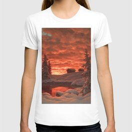 Classical Masterpiece 'Sunset in Winter' by Ivan Fedorovich Choultsé T-shirt