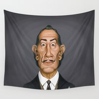 salvador dali Wall Tapestries featuring Celebrity Sunday ~ Salvador Dali by rob art | illustration