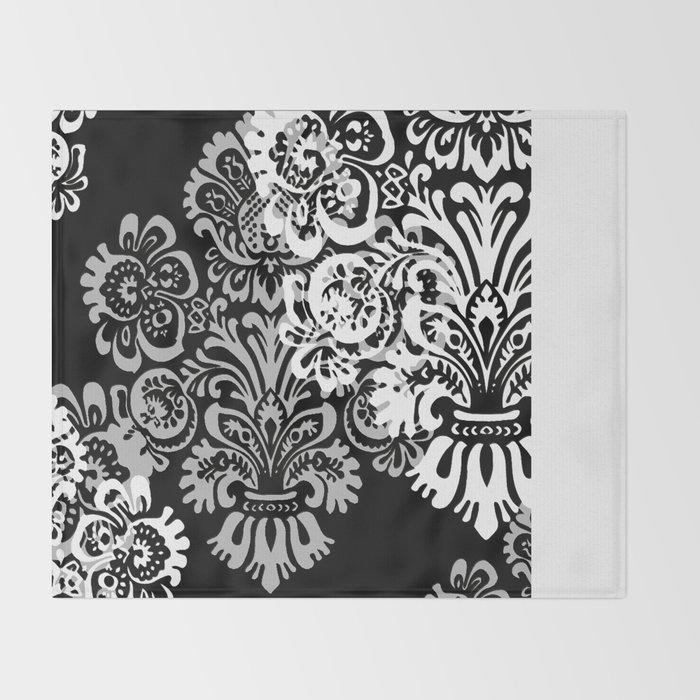 Black and Gray Damask Throw Blanket