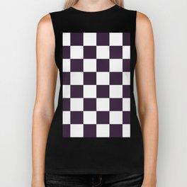 Large Checkered - White and Dark Purple Biker Tank