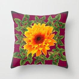 DECORATIVE  BURGUNDY YELLOW SUNFLOWERS GARDEN  ART Throw Pillow