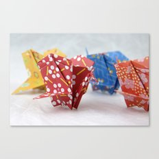 Origami Crane Basket Canvas Print