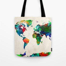 World map watercolor grunge Tote Bag