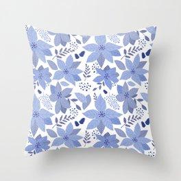 Serene Poinsettia Throw Pillow