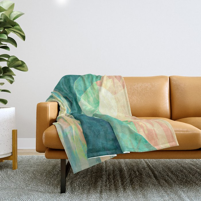 Spring Sunset over Emerald Mountain Landscape Painting Throw Blanket