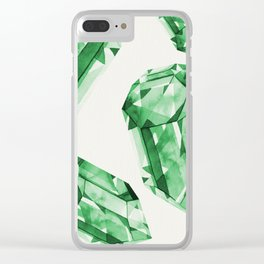 Falling Crystals - Emerald Clear iPhone Case