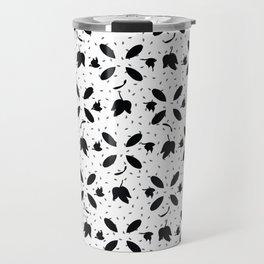 Monochrome Black White Ivy Leaves Travel Mug