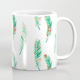 Watercolour Feathers - Greenery and Copper Coffee Mug
