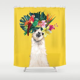 Aloha Hawaii Llama in Yellow Shower Curtain