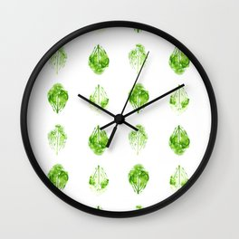 Leaves Stamped in Watercolor Wall Clock