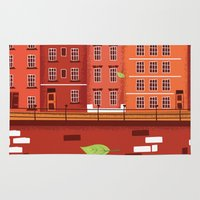 travel poster Area & Throw Rugs featuring Travel to Holland vintage poster by Nick's Emporium