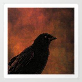 Crow Portrait In Black And Orange Art Print
